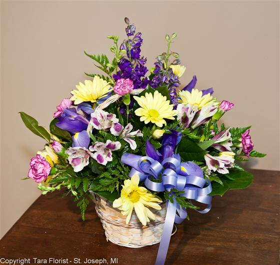 Blue, Lavender and Yellows Basket Bouquet