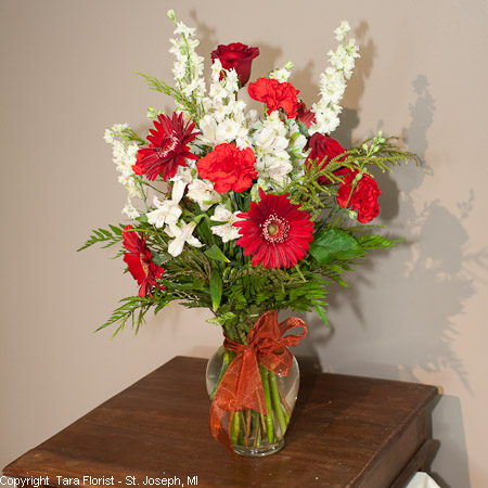 Red and White Vased Bouquet