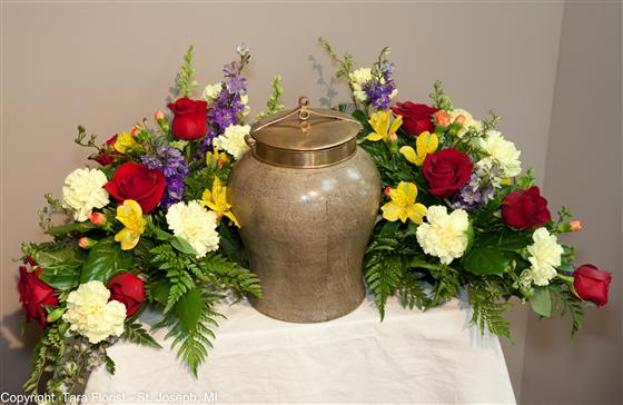 Cremation Urn Tribute of Flowers Red, Blue and Yellows