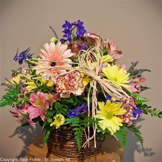 Basket of Yellow, Lavender and Pinks