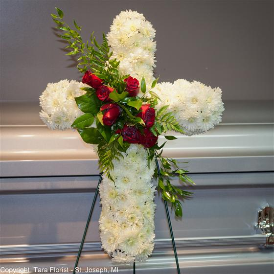 Cross with Rose Swag - 20 inch