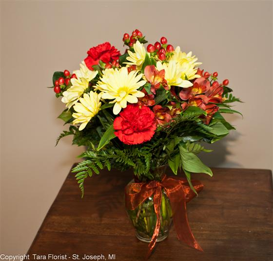 Earthtone Vased Bouquet - Tight Design