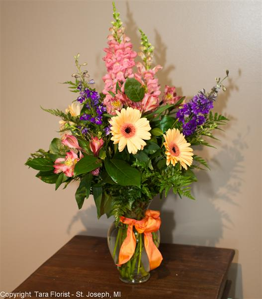 Tall Vased Bouquet of Mixed Flowers