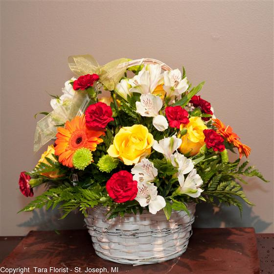 Bright and Cheering Basket Bouquet