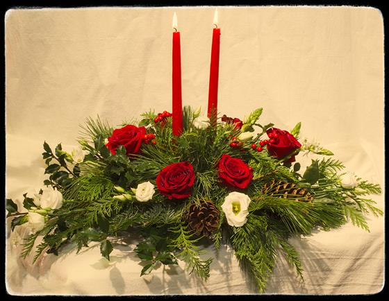 Winter Whisper with Candles & Roses